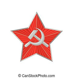 The military Soviet star with hammer and sickle. - The...