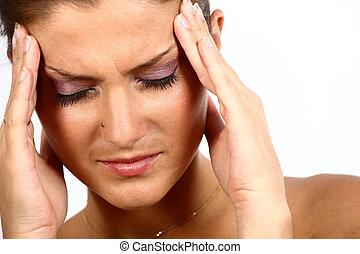 joven, mujer, dolor de cabeza