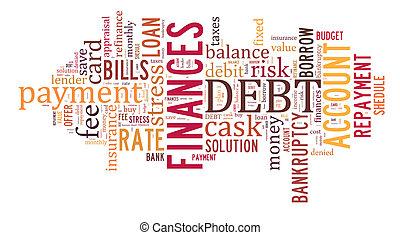 Debt word cloud background