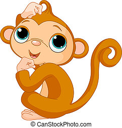 Thinking monkey - Cute little  monkey scratching his head