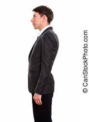Profile view of businessman standing