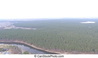 Panorama Over Little Town Near Forest - Aerial HD High...