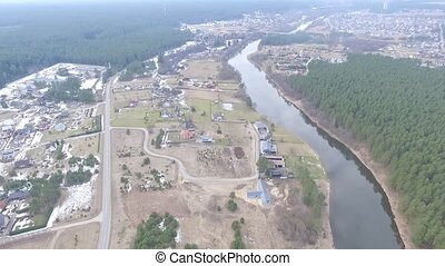 Flight Over Small Town 5 - Aerial HD High Quality footage...