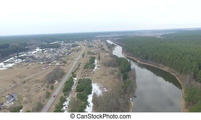 Flight Over Small Town 10 - Aerial HD High Quality footage...