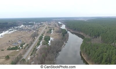 Flight Over Small Town 9 - Aerial HD High Quality footage...