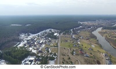 Panorama Over Small Town With Rotation 1 - Aerial HD High...