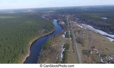 Panorama Over Small Town With Rotation 2 - Aerial HD High...