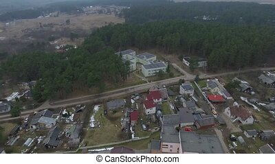 Panorama Over Small Town With Rotation 5 - Aerial HD High...