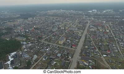 Panorama Over Small Town With Rotation 6 - Aerial HD High...