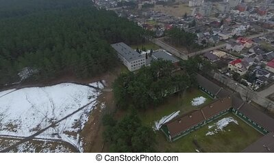 Panorama Over Small Town With Rotation 4 - Aerial HD High...