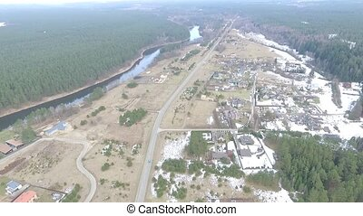 Flight Over Small Town 8 - Aerial HD High Quality footage...