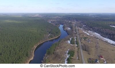 Panorama Over Small Town With River - Aerial HD High Quality...