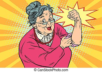 Granny old lady We can do it. Pop art retro vector...