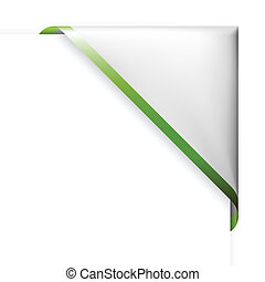White corner ribbon with green  border