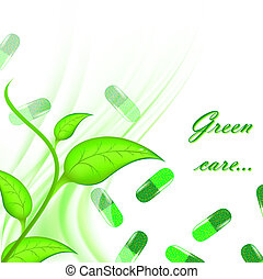 Green care - Theme of medical herbal care with green pills...