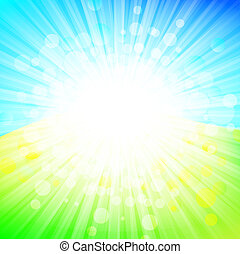 bright abstract explosion over green and blue, copyspace