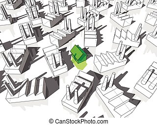 detached house and many factories - green ecological house...