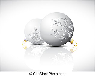 White Christmas bulbs with snowflakes ornaments