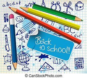 Back to school poster with paper and color pencils