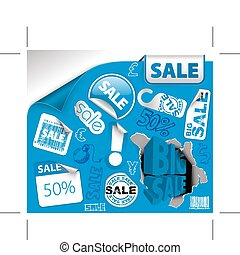 Set of blue discount tickets, labels, stamps, stickers,...