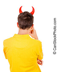 Man Rear View - Rear View of a Man with Devil Horns Isolated...