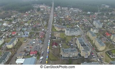 Flight Over Small Town With Rotation Left 2 - Aerial HD High...