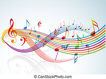 Music theme - rainbow notes on light background