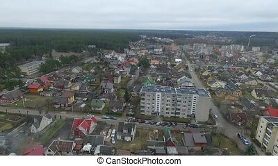 Flight Over Small Town With Rotation Left 3 - Aerial HD High...