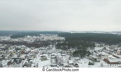 Panorama Over Small Town In Winter With Rotation - Aerial HD...