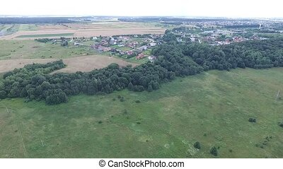 Panorama Over Country Near River And Houses - Aerial HD High...