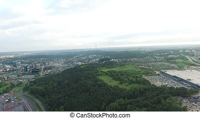 Panorama Over The City Near Forest