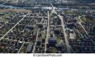 Flight Over Small Town Near River 1 - Aerial HD High Quality...