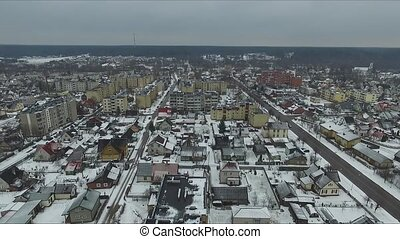 Panorama Over Small Town In Winter 1 - Aerial HD High...