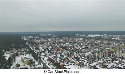 Panorama Over Small Town In Winter 2 - Aerial HD High...