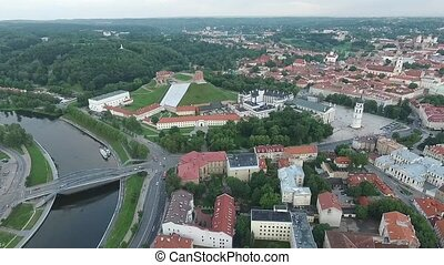 Aerial View Over The City Near River 8