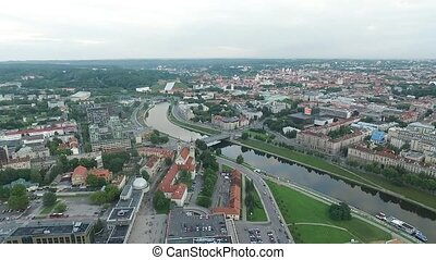 Aerial View Over The City Near River 5