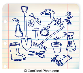 Garden doodle illustration collection - blue on linked paper