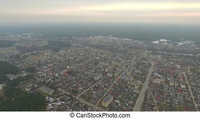 Panorama Over Small Town With Fast Rotation - Aerial HD High...