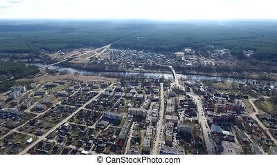 Panorama Over Small Town Near River - Aerial HD High Quality...