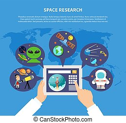 Space Research Concept - Space research concept with UFO and...