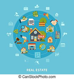 Real Estate Concept - Real estate flat design concept with...