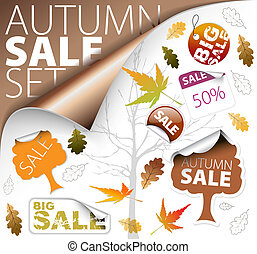 Set of season fall tickets and sale labels - Set of autumn...