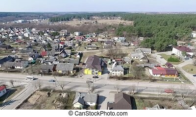 Flight Over Small Town Near Forest 4