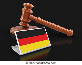 3d wooden mallet and German flag. Image with clipping path