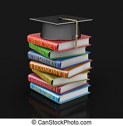 Graduation cap and Stack of textbooks. Image with clipping path