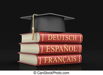 Graduation cap and Stack of dictionaries. Image with clipping path