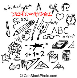 Back to school - set of school doodle illustrations