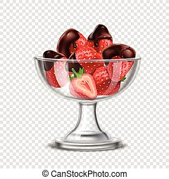 Realistic Strawberry In Chocolate Composition - Colored...