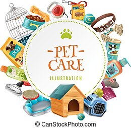Pet Care  Accessories Round Frame Illustration