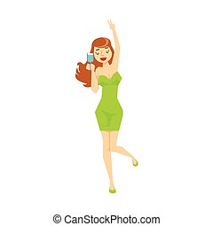 Sexy Girl With Wine Glass In Tight Green Dress Dancing, Part...